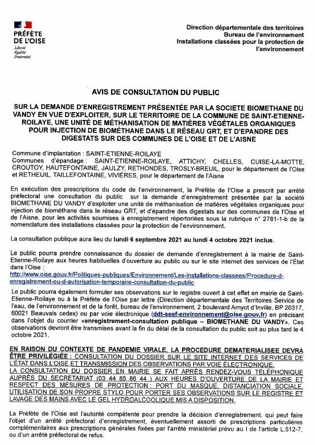 Lire la suite de l'actualité Avis de consultation du public – Unité de méthanisation sur le territoire de la commune de Saint-Etienne-Roilaye